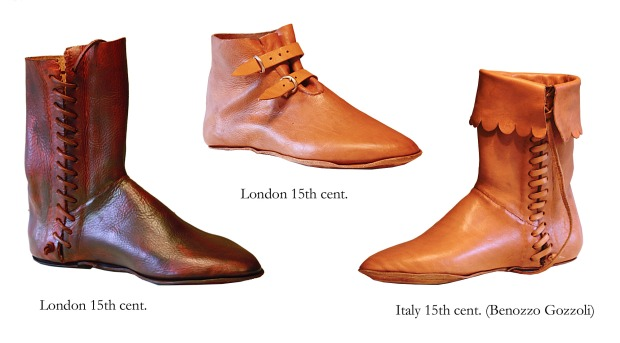 Authentic reconstructions of 15th typical 15th century shoes