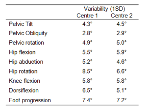 Average standard deviations across gait cycles for different gait variables